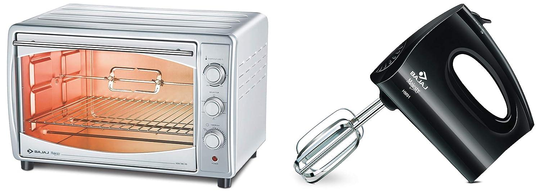 Bajaj HM 01 250-Watt Hand Mixer (Black) & Majesty 4500 TMCSS 45-Litre Oven Toaster Grill (Silver) Combo