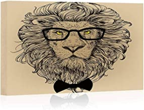 Indie Canvas Art Wall Decor,Lion Character Portrait with Glasses and Bowtie Hipster Smart Cool Dandy Painting Wall Art Picture Print on Canvas,24