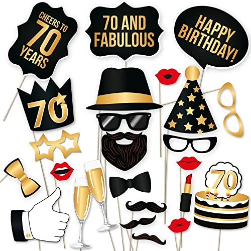 70th Birthday Props By PartyGraphix Perfect For Photo Booth Durable Gold