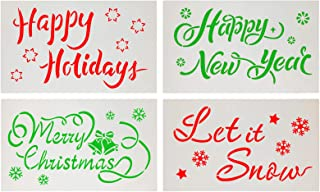 Penta Angel Christmas Stencils 4Pcs Plastic Snowflake Merry Christmas Happy New Year Happy Holiday Let it Snow Airbrush Drawing Templates for Painting on Wood Paper Glass Wall Xmas Ornament DIY