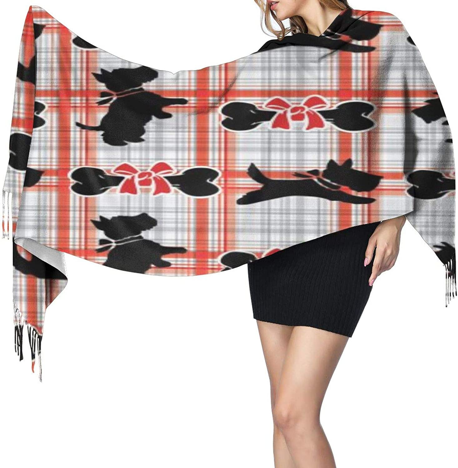 Cashmere fringed scarf Scottie Dog with Red and White Tartan winter extra large scarf
