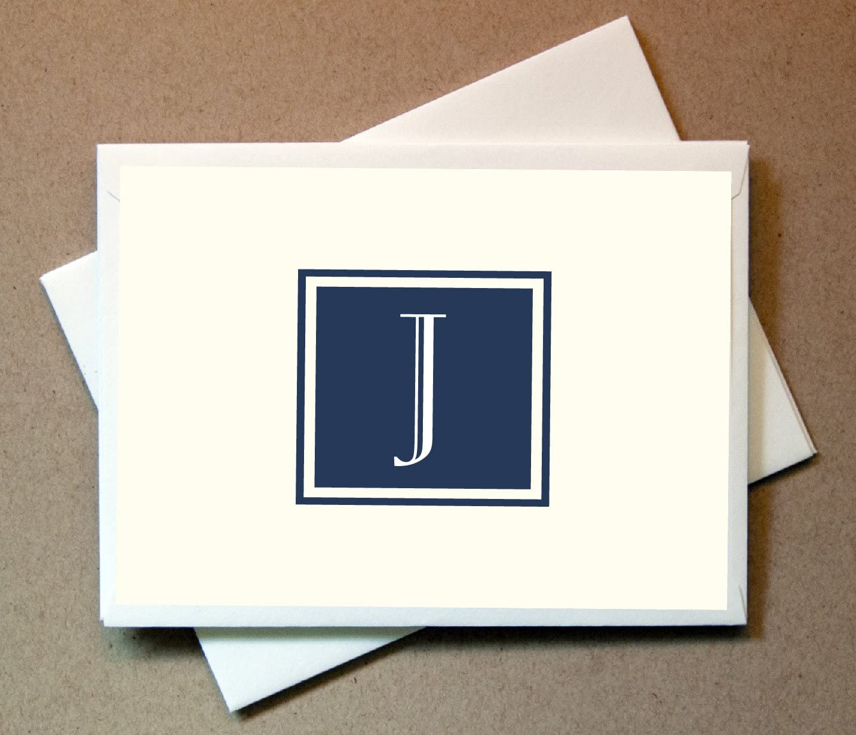 2 Letter Monogram Note Cards Monogrammed Wedding Thank You Cards FW Interlocking Monogram Folded Note Cards Wedding Stationery
