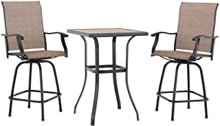 PHI VILLA Patio 3 PC Swivel Bar Sets Textilene High Bistro Sets, 2 Bar Stools and 1 Table, Brown