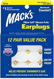 Mack's Pillow Soft Silicone Earplugs - 12 Pair, Value Pack - The Original Moldable Silicone Putty Ear Plugs for Sleeping, Snoring, Swimming, Travel, Concerts and Studying