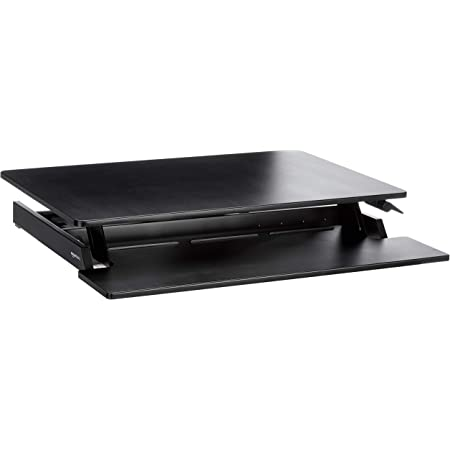 Amazon Basics Height Adjustable Standing Desk Converter with Keyboard Tray
