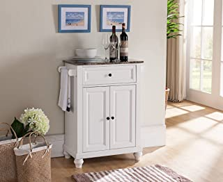 Kings Brand Furniture Kitchen Island Storage Cabinet with Marble Finish Top, White