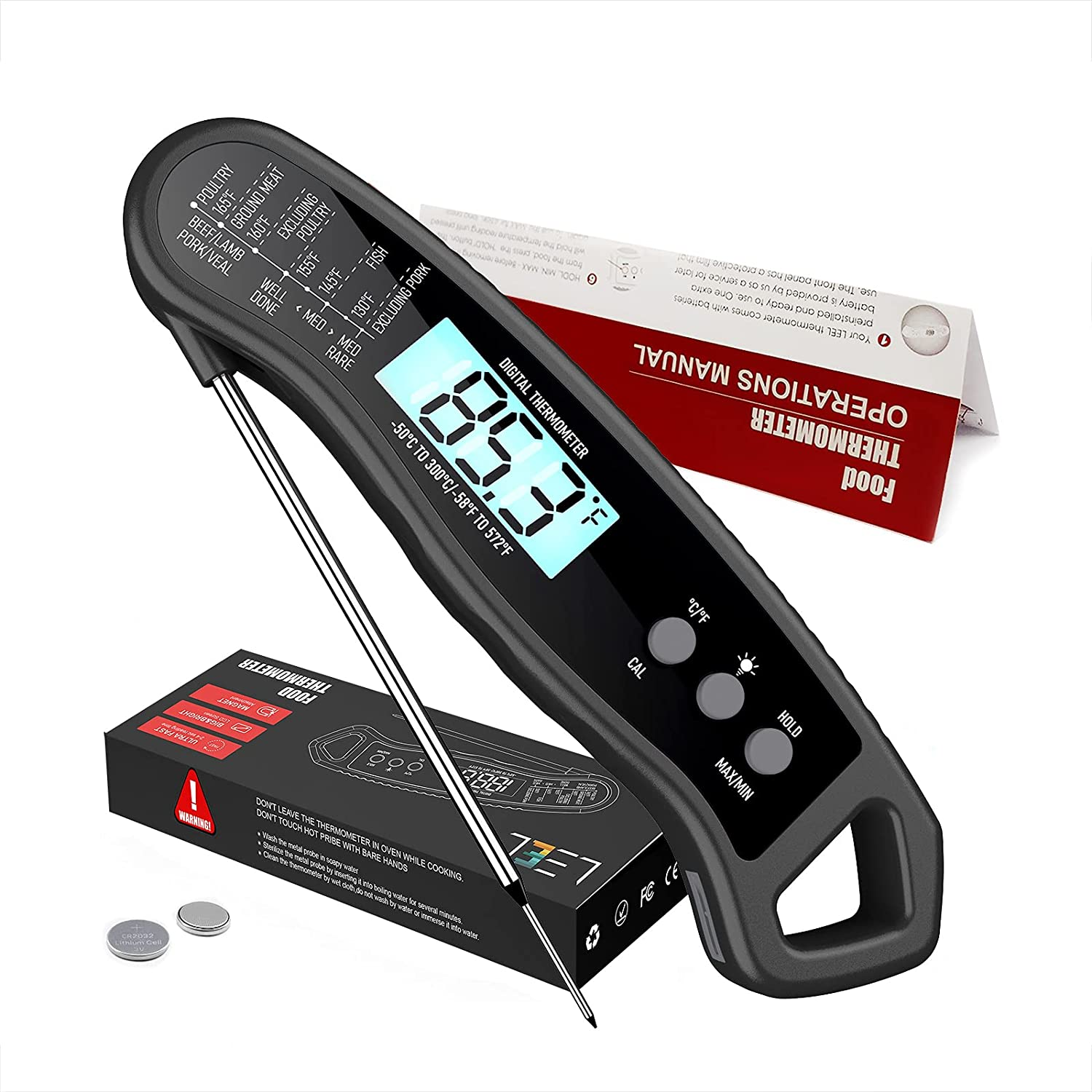 LEEL Instant Choice Read Meat Thermometer Fast Wate Precise Sale item Back Light