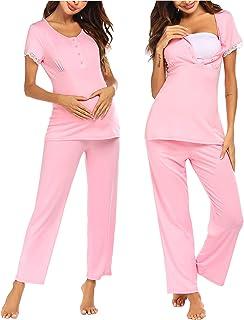 Ekouaer Women's Round Neck Sleepwear Short Sleeve Top Pants Pajama Set S-XXL
