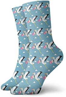 QUEMIN, Cigüeña Unisex con niño debajo de compresión transpirable personalizada calcetines antideslizantes deportivos calcetines deportivos de 30 cm