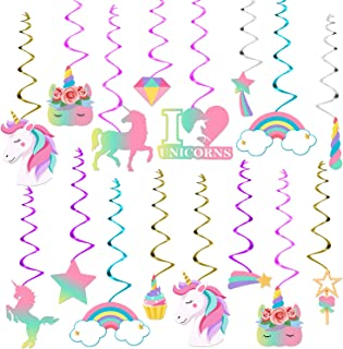 Unicorn Hanging Swirl Decorations Kit - Unicorn Party Decorations for Baby Shower and Birthday | Unicorn Party Supplies | ...