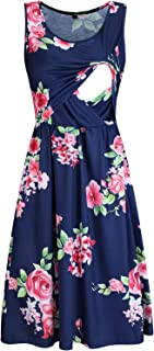 OUGES Women's Long Sleeve Pleated Casual Maxi Dresses with Pockets