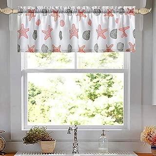 oremila Kitchen Curtain Valance Multicolor Starfish Seashell Conch Window Valance for Kitchen and Bathroom, Rod Pocket, 54
