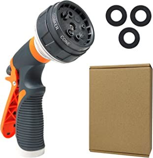102 Garden Hose Nozzle, Hose Spray Nozzle with 8 Patterns, Heavy-Duty Nozzle for Hose Under High Pressure, Slip Resistant ...