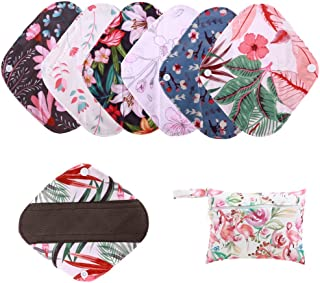 Simfamily 7 Pieces Set Including 1 Piece Mini Wet Bag +6 Pieces 8 Inch Charcoal Bamboo Panty Liner Mama Cloth Menstrual Pads Reusable Sanitary Pads