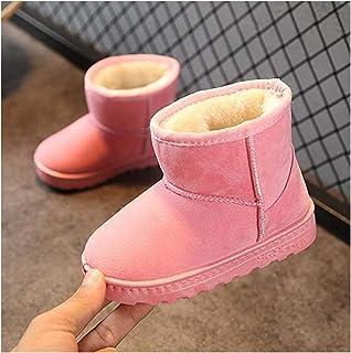 JINSUO Bottes de neige chaudes antidérapantes en cuir pour enfants avec fond souple (couleur : transparent, taille de la c...