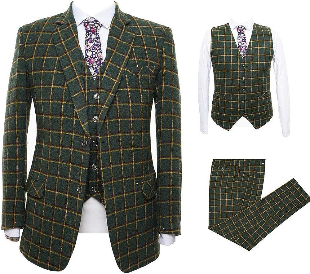 Classic Mens 3 Pieces Green Plaid Wool Tweed Herringbone Best Men's Formal Slim Fit Suit Office Blazer Jacket Vest Pant