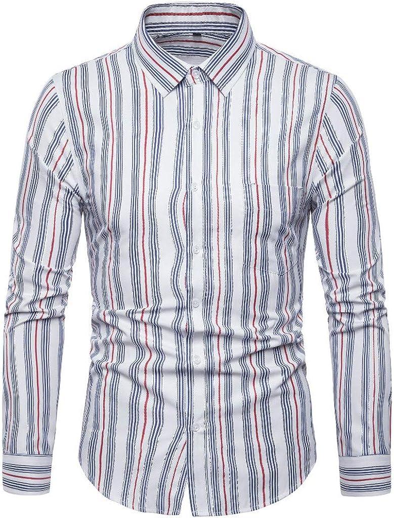 MODOQO Men's Casual Slim Fit Button Down Dress Shirt Long Sleeve Stripe Shirt