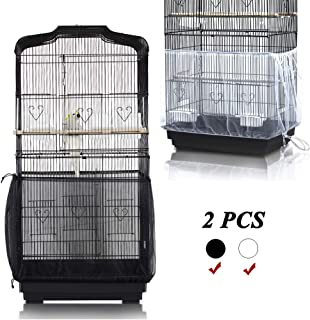 ASOCEA Universal Birdcage Cover Bird Cage Seed Catcher Parrot Cage Mesh Skirt Birdseed Nylon Net Guard Extra Large - Black&White
