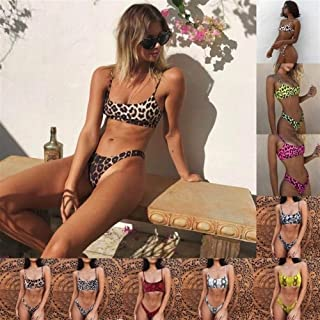 Fashion Sexy Swimsuit Bikini Swimwear Women Wear Padded Thong Bathing Suit (Color : Brown, Size : 5XL)