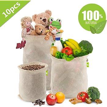 Cotone Organico Borse per La Spesa Traspirante Borse riutilizzabili per la Spesa 7 Pezzi 2S, 3M, 2L Doppia Cucitura,Etichetta Peso Tara EKKONG Sacchetti di Frutta e Verdura