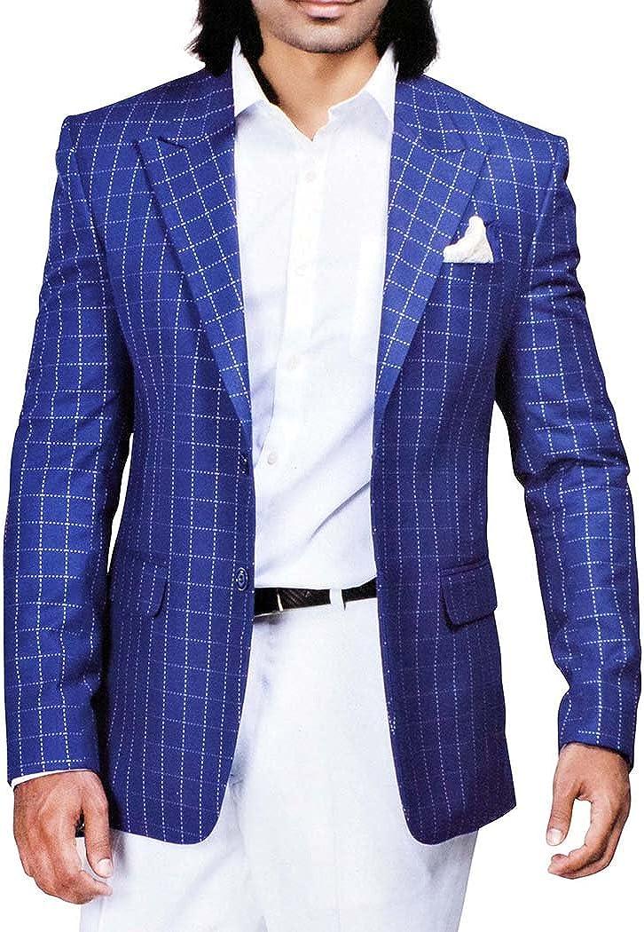 INMONARCH Mens Slim fit Casual Blue Checks Blazer Sport Jacket Coat Peak Lapel SB70