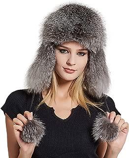 Fur Story Women's Fur Trapper Hat with Sheepskin Earflap Bomber Hat Men's Winter Fur Hat