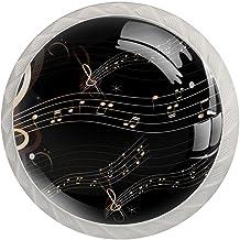 Lade knoppen ronde kristallen glazen kast handgrepen pull 4 stuks, muziek notities zwart