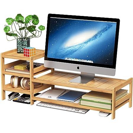 KKLTDI Bambou Bois Support De Moniteur 2 Dritte Multifonctionnel Stockage Moniteur Stand R/éhausseur D/écran pour Bureau Bureau Support pour /Écran Dordinateur-a 48x20x14cm 19x8x6inch