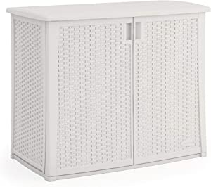 Suncast 97-Gallon Large Deck Cabinet Box - Lightweight Resin Indoor/Outdoor Storage Container for Patio Cushions and Gardening Tools - Store Items on Patio, Garage, Yard - White