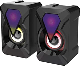 Generic Computer Speakers 3Wx2 USB Powered with Colorful LED Modes Multimedia Speakers Volume Control with RGB Light for P...