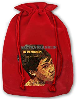 JiuLofg Aretha Franklin in Memoriam Santa Sacks Velvet Bags with Drawstring,Large Christmas Bag Santa Bags for Kids Storage Bag - 13.78 X 17.71 Inch/35x45cm