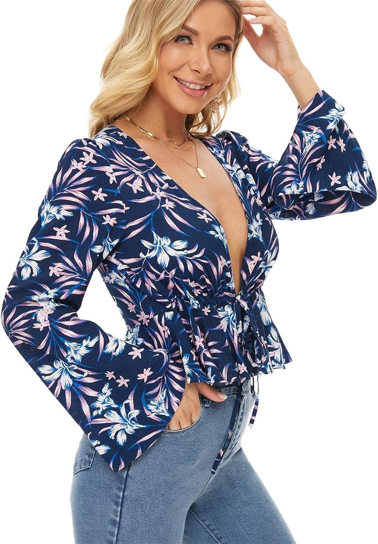 MEIJLAM Womens Tie Front Blouses Deep V Neck Bell Long Sleeve Ruffle Hem Floral Tops Shirt