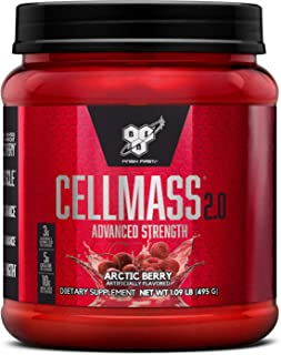 BSN CELLMASS 2.0 Post Workout Recovery with BCAA, Creatine, & Glutamine - Keto Friendly - Arctic Berry, (50 Servings)