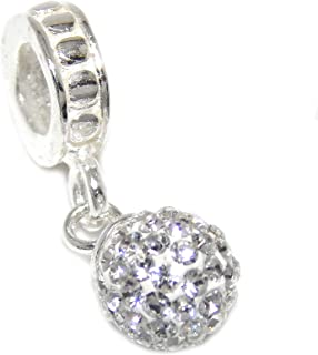 ICYROSE Solid 925 Sterling Silver Dangling Ball with Clear Crystals Charm Bead