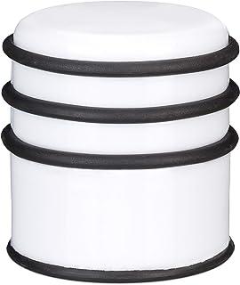 Relaxdays Tope de puertas, Pesado, Para puertas y ventanas,∅ 7 cm, 3 anillos de goma, Blanco