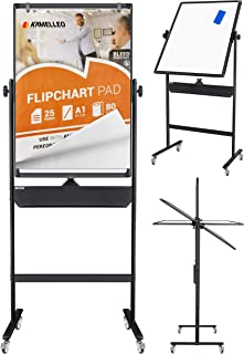 Mobile Whiteboard - Large Adjustable Height 360° Reversible Double Sided Dry Erase Board - Magnetic White Board on Wheels - Portable Rolling Easel with Stand, Flip Chart Holders (36x24, Black)