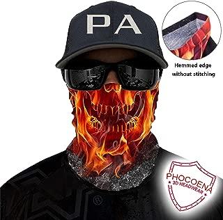 PHOCOENA Tubular Bandana Face Mask - Anti Slip Neck Gaiter with Hemmed Edge Light Breathable UV Sun, Wind dust Proof Seamless Balaclava