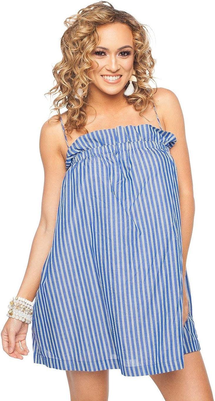 BuddyLove Women's Off The Shoulder Blue and White Stripe Flowy Short Dress Treasure Dress- Navy