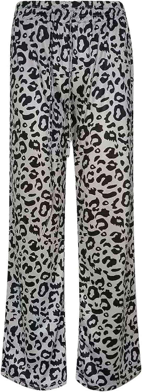 MIVAMIYA Women's Leopard Print Palazzo Pants Wide Leg Drawstring Elastic Waist Loose Lounge Yoga Pants Flowy Pajama Pants
