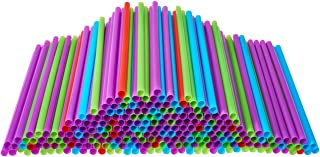 """Plastic Drinking Straws, 250 Count BPA-Free Multi-Colored Disposable Plastic Straws 8.25"""" Long, Assorted - DuraHome (250 P..."""