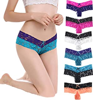 Women's Multi-Color Pattern Thick-Faced Underwear, Sexy lace Panties, 6-Pack of Mixed Color.