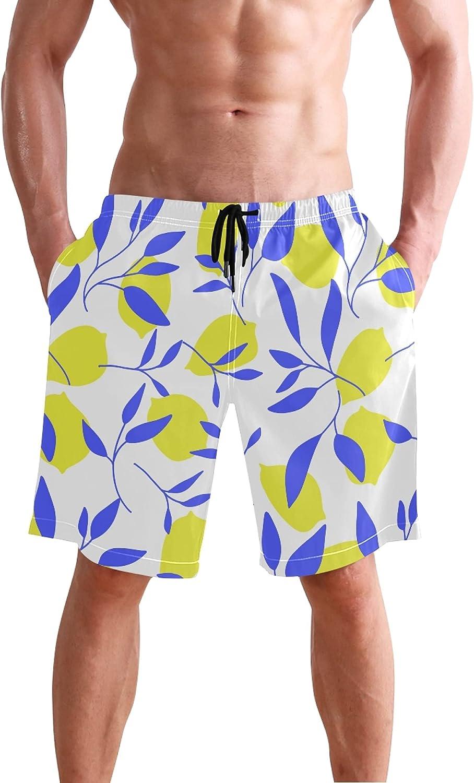 Lemon Tropical Fruit Mens Swim Trunks Men's Sportwear Quick Dry Board Shorts with Mesh Lining S 20403436