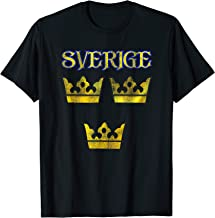 Sverige Sweden Swedish Tre Kronor Three Crowns Distressed T-Shirt