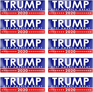 PACETAP 10 PCS 9 X 3 inch Trump 2020 Stickers Car and Truck Bumper Stickers Decals 45 Presidential Election Keep America Great