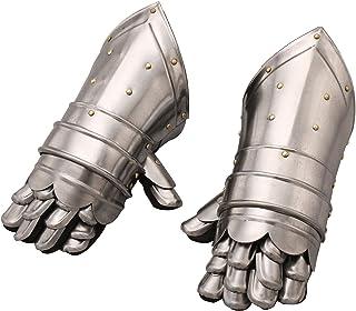 Benzara BM02193 Metal Armor Hand Gloves Pair, Silver