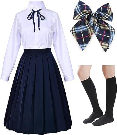 Elibelle Vestido Largo clásico japonés Escuela niñas Sailor Camisas Plisadas Falda Uniforme Anime Cosplay Disfraces con Calcetines (SSF20.21)
