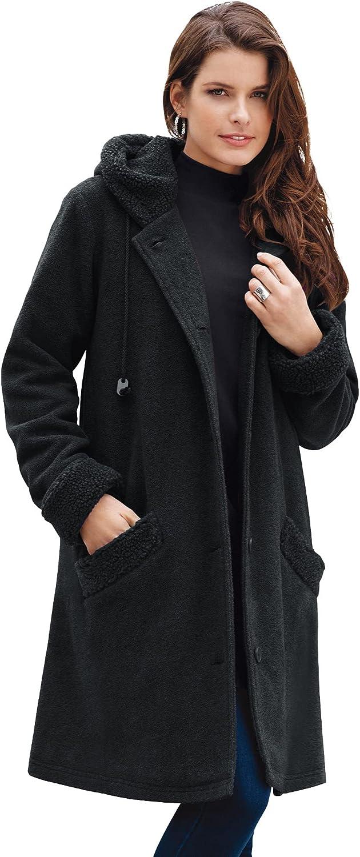 Roaman's Women's Plus Size Hooded Button-Front Sherpa Coat