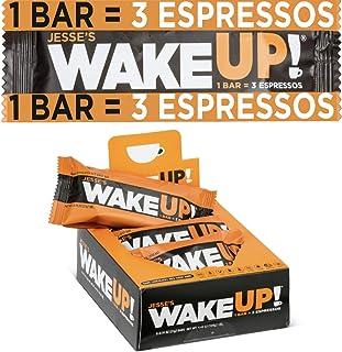 Jesse's WakeUP (1 Bar = 3 Espressos): Gluten Free Bars, 350mg of All Natural Caffeine to Boost Brain Focus & Clarity, Sustained Energy: 90 Calories, Kosher, Vegan, Dark Chocolate Rice Crisp Bar: 6 Pack