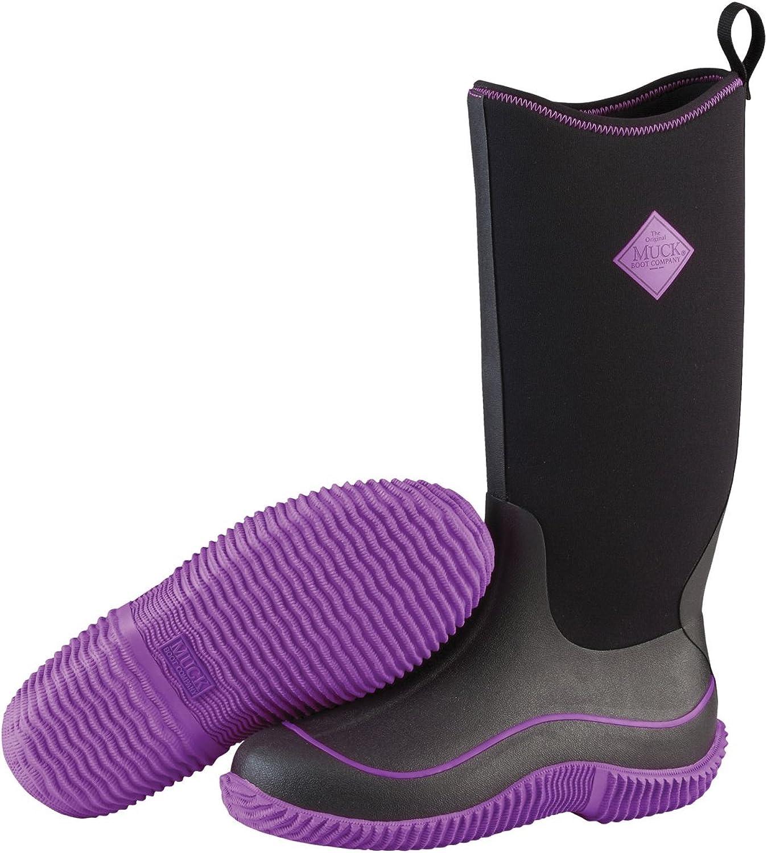 Muck Boots Womens Ladies Hale Pull On Wellies (5 US) (Black Purple)