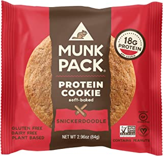 Munk Pack Protein Cookie Snickerdoodle | 18g Protein Cookie | Vegan, Gluten-Free, Soft Baked | 2.96oz, 12 Pack